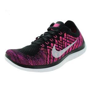 Nike Free 4.0 flyknit black pink lace up sneaker
